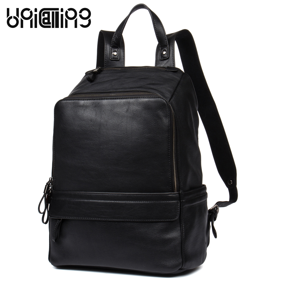 UniCalling fashion brand men genuine leather casual backpack quality cow leather stylish men backpack business outdoors backpack s c cotton brand backpack men good quality genuine leather