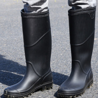 good quality PVC rubber low Heels Non slip men Rain Boots Mid calf Male water Rainboots shoes Waterproof work Water Shoes