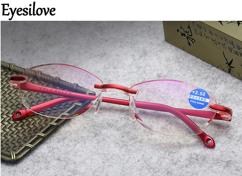Eyesilove women reading glasses ultra light Diamond Cutting presbyopic glasses anti-blue ray +1.0 +1.5 +2.0 +2.5 +3.0 +3.50 4.00
