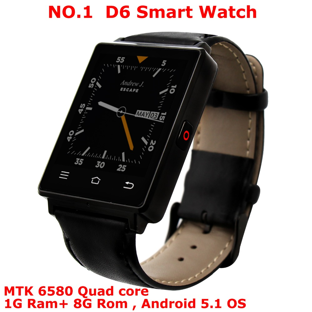 NEW NO.1 D6 MTK6580 Quad Core 1.3GHz 1GB 8GB 1.63 3G Smartwatch Phone Android 5.1 GPS WiFi BT 4.0 Pedometer Heart Rate Monitor no 1 d6 3g smartwatch wifi 1gb 8gb mtk6580 quad core bluetooth gps watch phone heart rate monitor smart watch android 5 1 pk d5