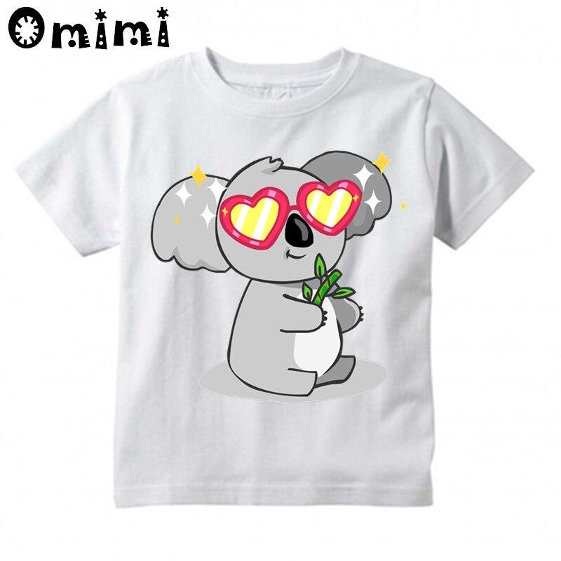Мальчики/девочки Сказочный коала Дизайн футболка Дети милые Повседневное Топы Детская летняя белая футболка