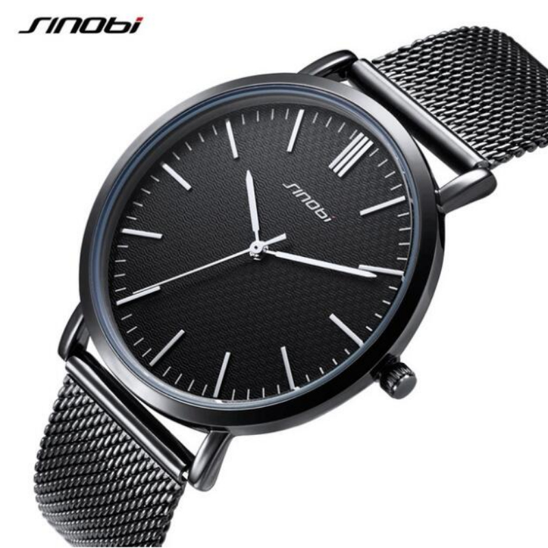 SINOBI Top Brand Fashion Wrist Watches Men Women Watches Full Steel Men's Watch Waterproof Luxury Women's Watches Lovers' Clock