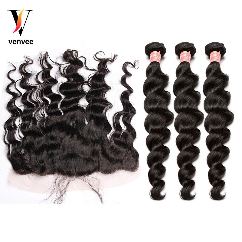 Buy 3 Get 1 Free Brazilian Loose Wave 13X4 Lace Frontal Closure With Bundles Human Hair Bundles With Closure Virgin Venvee