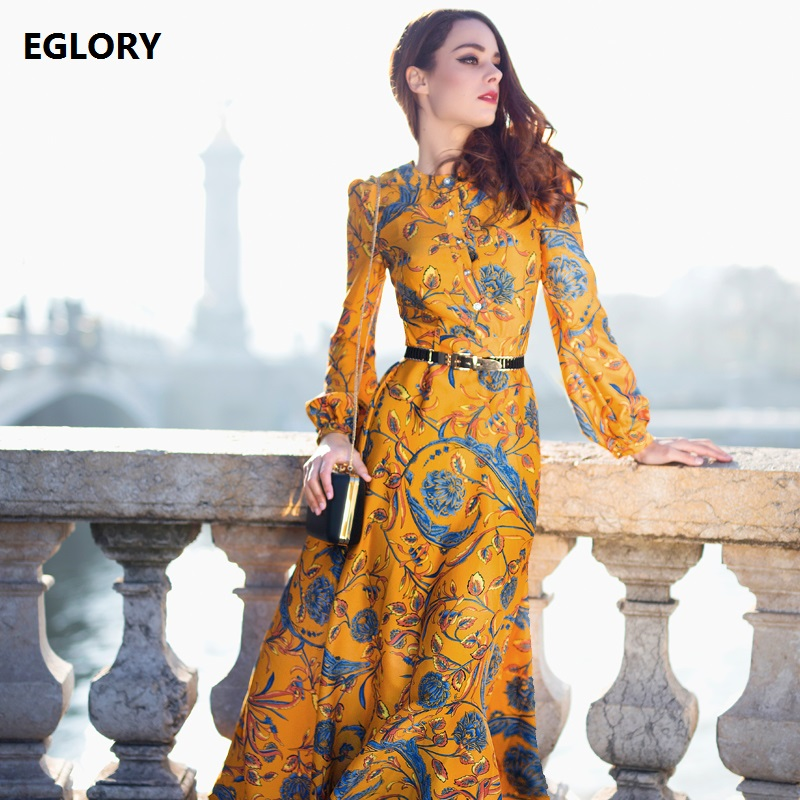 XXXL!Best Quality New Brand Plus Long Dress 2018 Spring Women Beautiful Floral Print Long Sleeve Maxi Long Yellow Dress Oversize