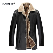 M.T.WOLFCHILD 2017 winter new style lapel collar thicker locomotive  PU jackets casual mens clothing tops men's outerwear