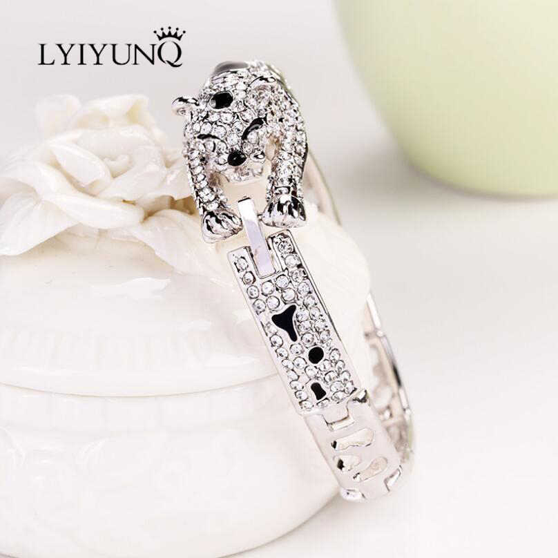 LYIYUNQ Classic Leopard Bracelets For Women Fashion Brand Animal Cute Rhinestone Wedding Jewelry Silver Plated Crystal Bracelet