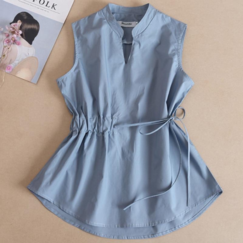 British Plaid Sleeveless Blouse Women Summer Spring Summer Sleeveless Shirt Folds Cotton Shirts Bottoming Shirt Slim Shirt