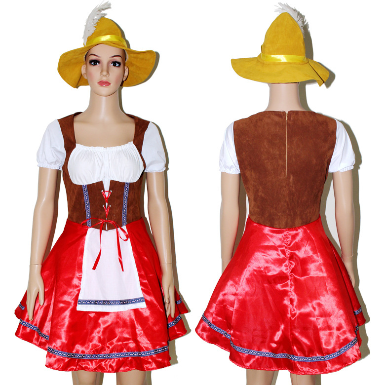 Woman Beer Maid Wench German Heidi Oktoberfest Fancy Dress Party Costume M L XL Halloween Party Costume Dress