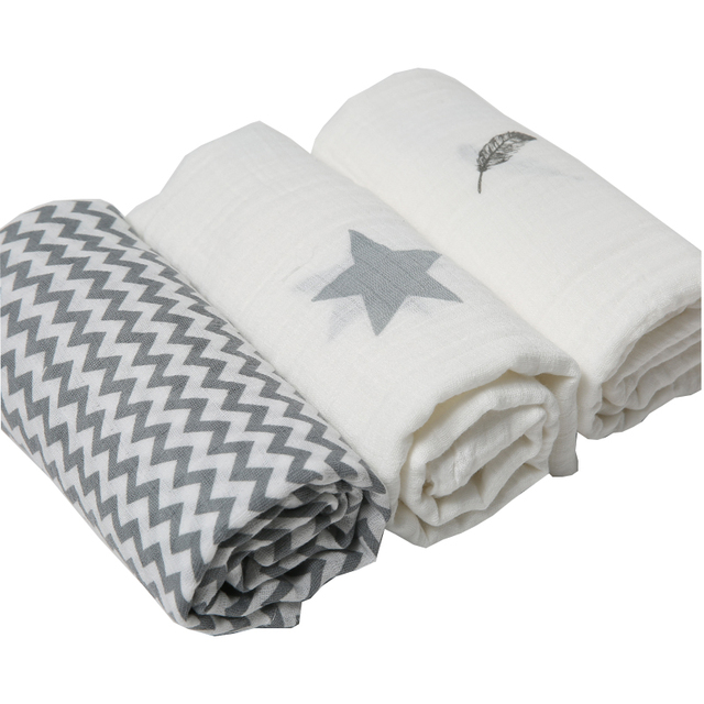 3Pcs Set 120*120cm Muslin Cloth 100% Cotton Newborn Baby Swaddles Baby Blankets Multi Designs Functions  Baby Towel Hold Wraps