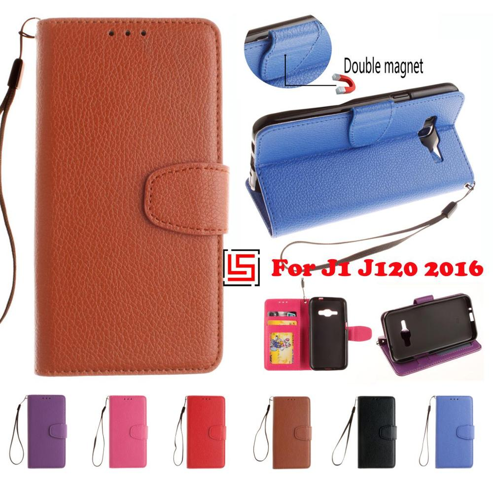 PU Leather Flip Book Wallet Walet Phone Mobile Case cubierta kryty Cover For Samsung Galaxy J1 2016 J 120 Black Red