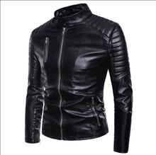 Stand collar motorcycle leather jacket men fashion clothes mens faux jackets casual short pu coats biker black S - 2XL
