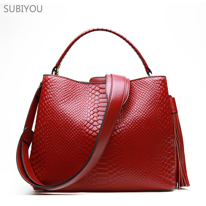 SUBIYOU Red Totes Women's Real Leather Bags Cow Leather Handbag Bolsa Feminina Single Bucket Shoulder Bag for Young Mother Women цена 2017