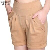Top Quality Women Shorts Summer Elastic Cotton Pockets Casual Female High Waist Wrinkle Belt Black Plus