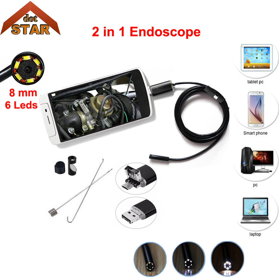 Stardpt Android Mobile Endoscope USB Camera 2in1 7mm Lens 2/5M Snake Camera Waterproof Inspection Borescope for Laptop OTG Phone 2018 newest 4 9mm lens medical endoscope camera for otg android phone pc usb borescope inspection otoscope camera for ear nose
