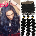 7A Peruvian Lace Frontal Closure With Bundles Body Wave 13x4 Ear To Ear Full Lace Frontals Baby Hair 3 Virgin Human Hair Weave