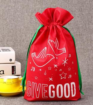 Christmas Gift Drawstring Bags Sack Reusable Holiday Presents Wrapping Toys Treasure Gift Ribbon Bags Party favor Decoration