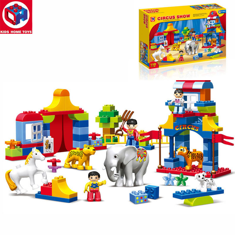 Kid's Home Toy Circus Show Animals Paradise Model Large Particles Building Blocks 110PCS Large Size Bricks Compatible With Duplo kid s home toys large particles happy farm animals paradise model building blocks large size diy brick toy compatible with duplo