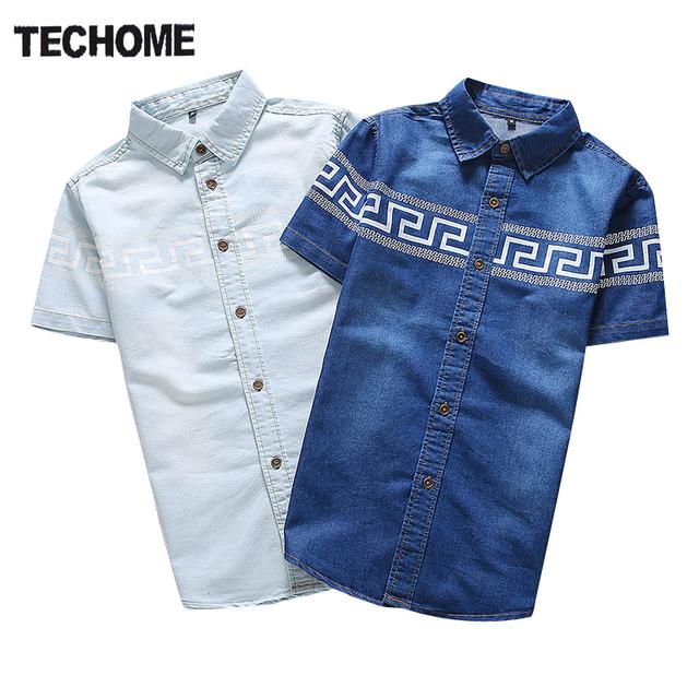 2016 Verão New Style Men Denim Shirt Ocasionais Da Forma de Impressão de Alta Qualidade Magro Calça Jeans de Manga Curta Camisa Dos Homens Camisa Masculina