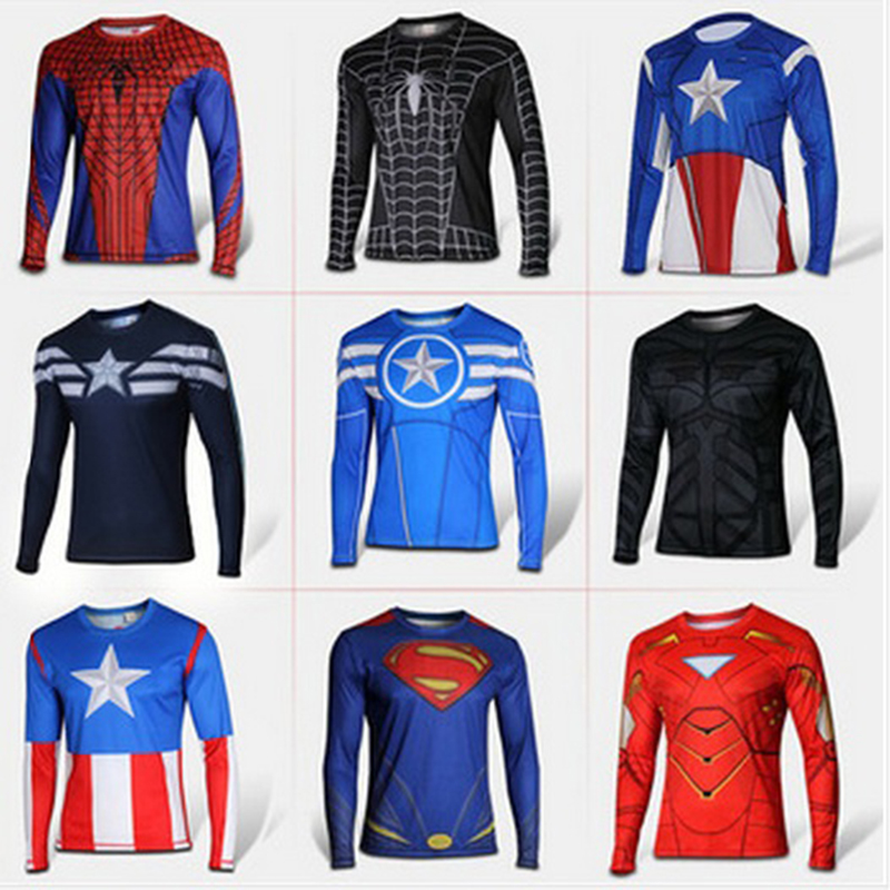 Marvel Comics Tshirt Men Super Heroes Captain America Spiderman Superman Batman Iron Man Long Sleeve T Shirt Tops Clothing Homme