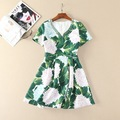 handmade beading v-neck a-line short sleeve women casual dress green leaf hydrangea print dresses new 2017 spring summer
