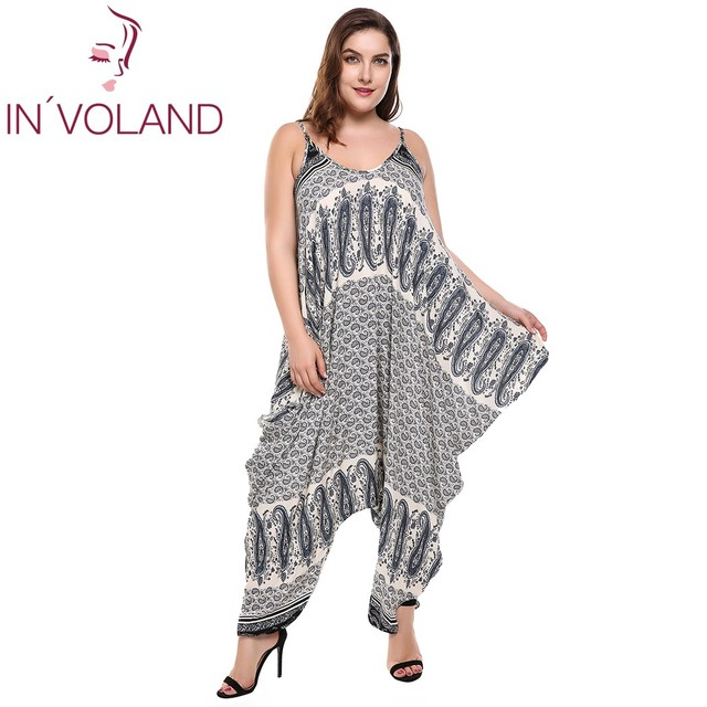 9c1f8688f02 IN VOLAND Women Sexy Jumpsuit Big Size Spaghetti Strap Sleeveless Casual  Print Loose Irregular Hem