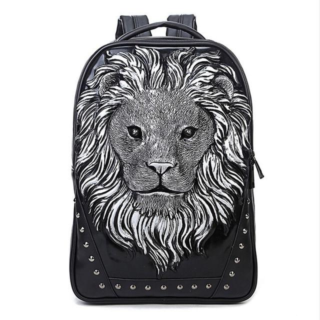 2017 New Fashion Women's Backpack Cool Lion Backpack PU Leather School Backpacks For Teenage Girls School Bag mochila escolar
