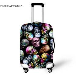 Twoheartsgirl Красочные черепа Чемодан Защитная крышка упругие толстые Trunk Case дорожные тележка чемодан Пыль Покрывает 18-28 дюймов