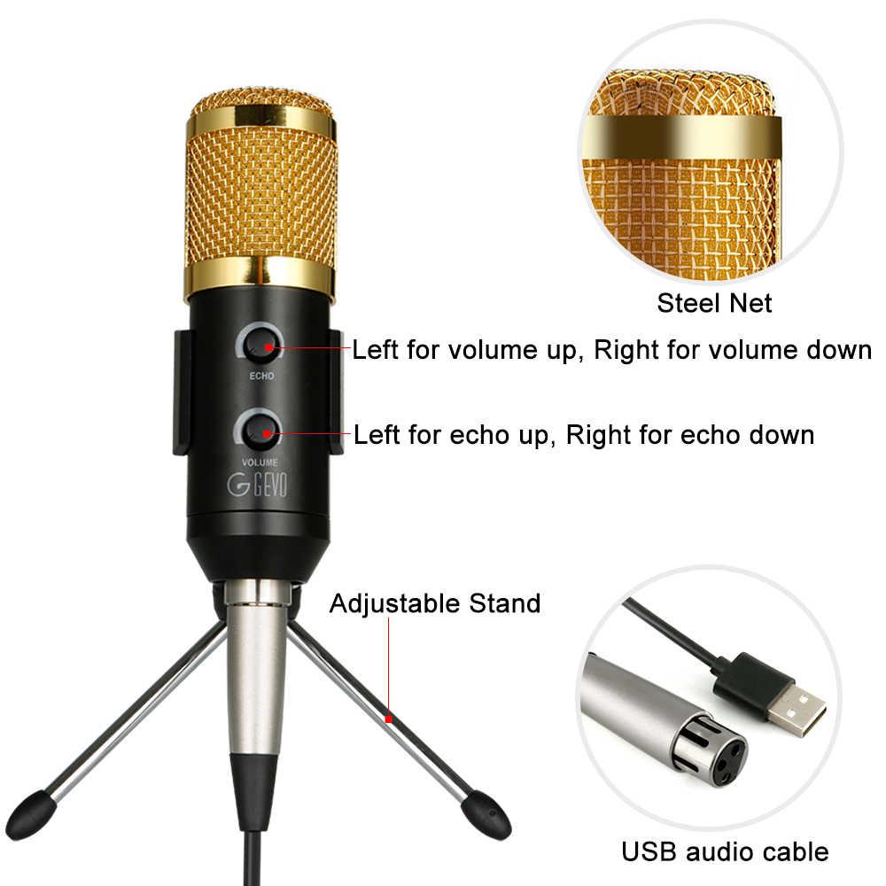USB Mikrofon Logam Kondensor Rekaman Mikrofon untuk Komputer Laptop Mac atau Windows Cardioid Studio Rekaman YouTube