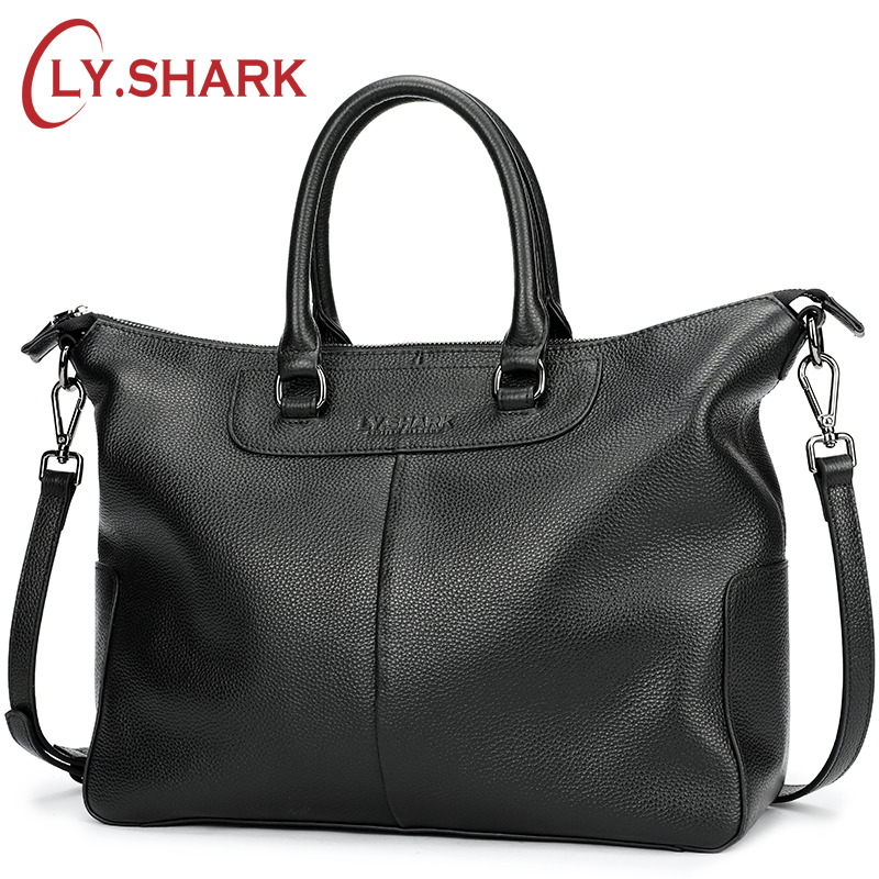 LY.SHARK Genuine Leather Bag Women Shoulder Bag For Women 2018 Big Handbag Women Famous Brand Lady Hand Bags Messenger bag Black цена и фото