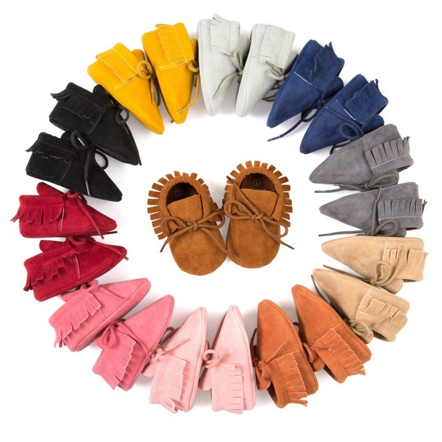 2019 Hot sale PU  Leather Fringe  soft sole   Newnborn Baby Boy Girl mocassion shoes Infant   Non-slip Lace-up baby crib shoes 1