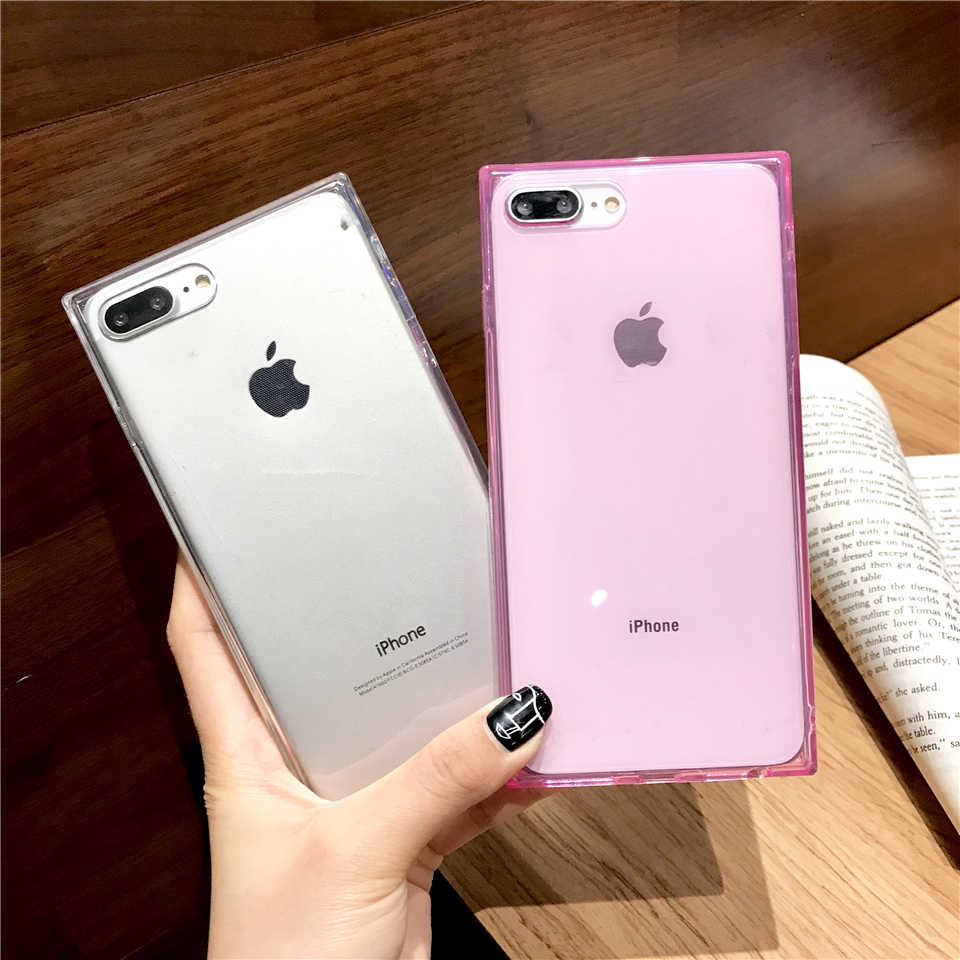 Square Phone Case For iphone 7 Plus TPU Transparent Clear Solid color 6 6S Plus 7 8 8 Plus X XR XS MAX Soft Simple Back Cover