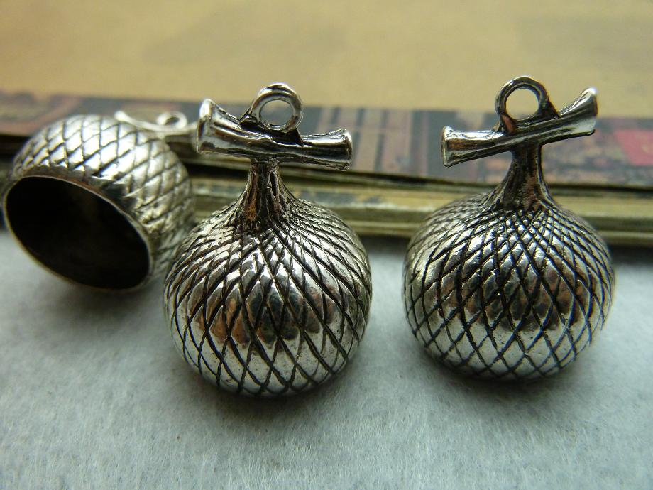 5Pcs 19*25mm Antique Silver Pine Cone Cap Charms Pendant Jewelry Making