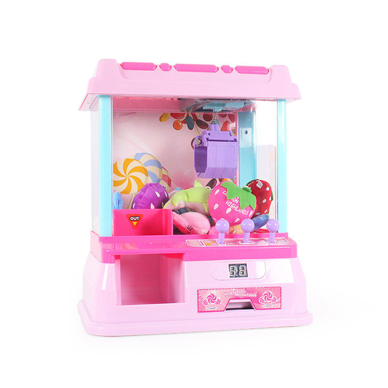 Mini Music Electric Crane Toys Coin Operated Game Doll Mini Arcade Machine Light Candy Doll Grabber Game Machine Gift for Kids mini handheld battery operated sewing machine for kids