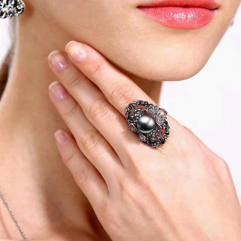 SINLEERY Vintage Big Gray Simulated Pearl Rings Antique Silver Color Gray Crystal Hollow Flower Ring For Women Jewelry JZ003 SSI