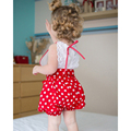 Meninas da criança Infantis rendas Roupas Meninas ins halter collant Roupa Dos Miúdos Definir 0-3 t meninas vermelho/branco dot macacão