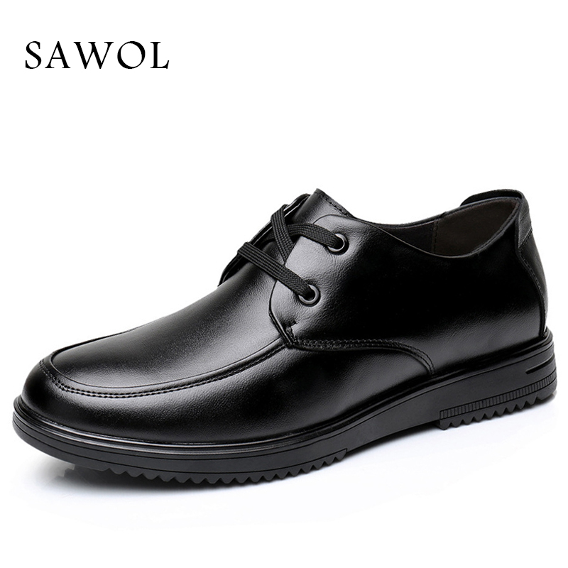 Sawol Men Casual Shoes Brand Men Leather Shoes Genuine Leather Shoes Men Flats Men Sneakers Spring Autumn Plus Big Size 46 spring autumn casual men s shoes fashion breathable white shoes men flat youth trendy sneakers