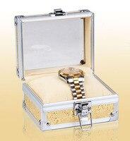 Oro In Lega Singolo Watch Box Cassa Dei Monili Del Braccialetto Confezione regalo di Lusso Pacchetto Materiale Albicocca Cuscino Con Serratura