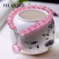 SHANICE Madagascar Pink Crystal Bracelets Round Beads Lucky Morzin Apple Pendant for Lovers Crystal Bracelet Girlfriend Jewelry