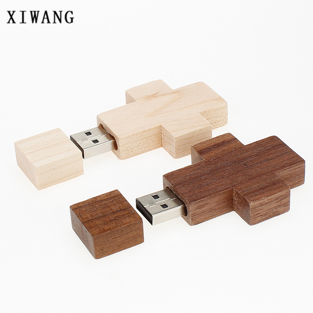 XIWANG 10 units can be customized LOGO wooden cross flash drive 4GB 8GB 16GB 32GB 64GB cross key ring wedding gift free shipping