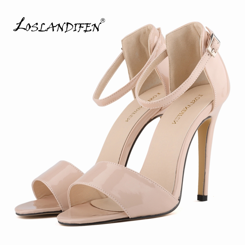 LOSLANDIFEN Women'shoes Summer Open Toe Ankle Straps Sandals WOMEN SHOES  HIGH HEELS PEEP TOE SANDAL PARTY  ANKLE STRAP  102-2PA стоимость