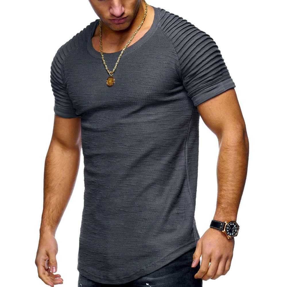 Yeni Moda Yaz Jogger Erkekler Katı T gömlek Casual Slim Fit Nervürlü Omuz Biker Elastik Beyaz ve Siyah Kısa Kollu gömlek Tops