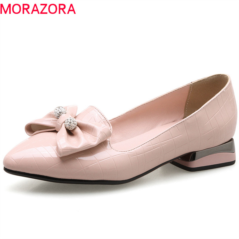 MORAZORA 2018 new arrive women pumps spring summer fashion sweet bowknot pink red casual shoes simple shallow pointed toe shoes memunia 2018 new arrive women summer sandals sweet bowknot casual shoes simple buckle comfortable square heele shoes woman