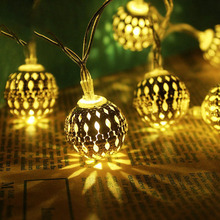 2M 20LED Moroccan Ball Night lamp Christmas Garland Fairy String Lights for Kid Childrens Room Party Wedding Decoration