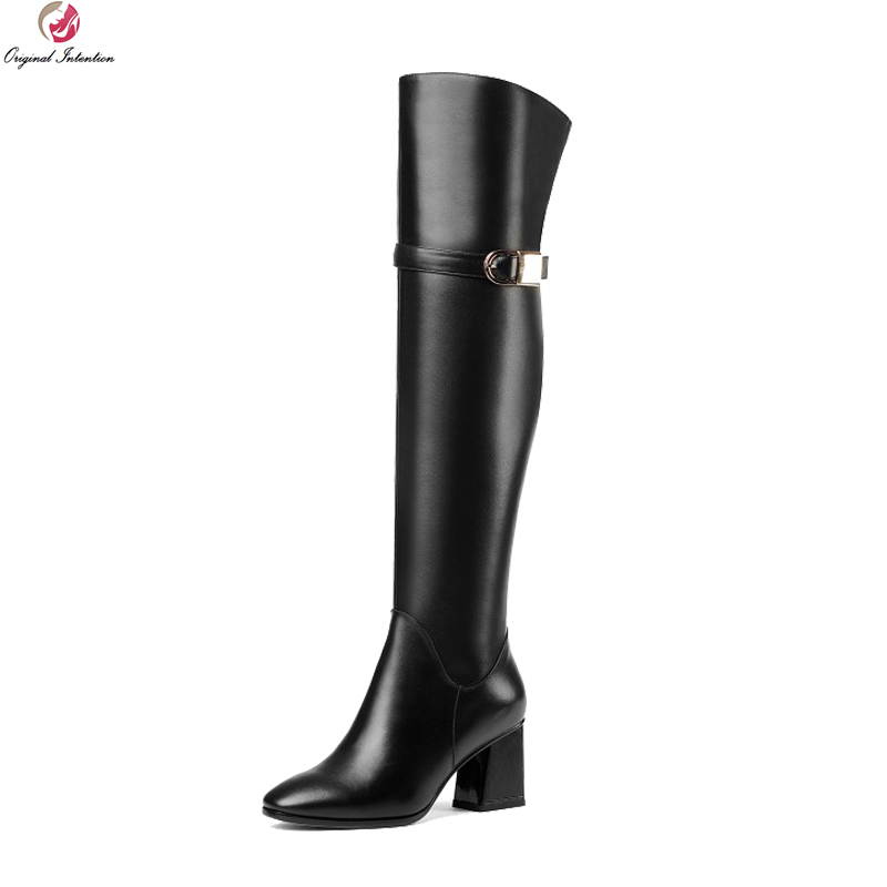 Original Intention New Fashion Women Over-the-Knee Boots Fashion Square Toe Square Heels Boots Black Shoes Woman US Size 4-8.5 for children s swimming team buoyancy vest for kids adult buoyancy vest life vest drifting snorkeling fishing buoyancy suit