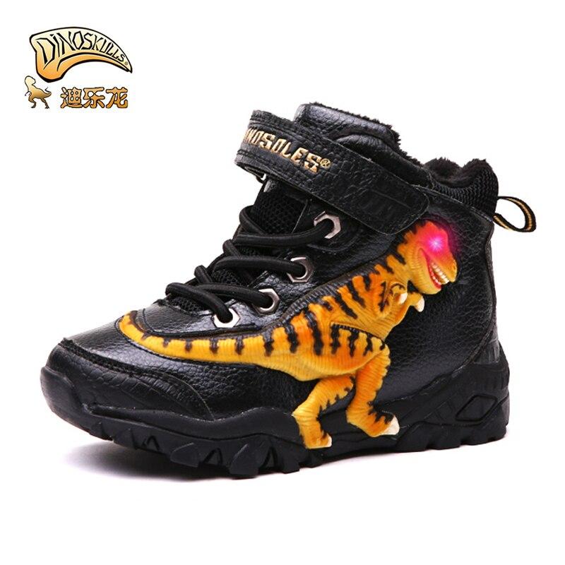 Dinoskulls Boys Boots Winter Leather Shoes 4T Kids Warm Velvet Lining 3D Dinosaur T-rex LED Light Children's Snow Boots Footwear