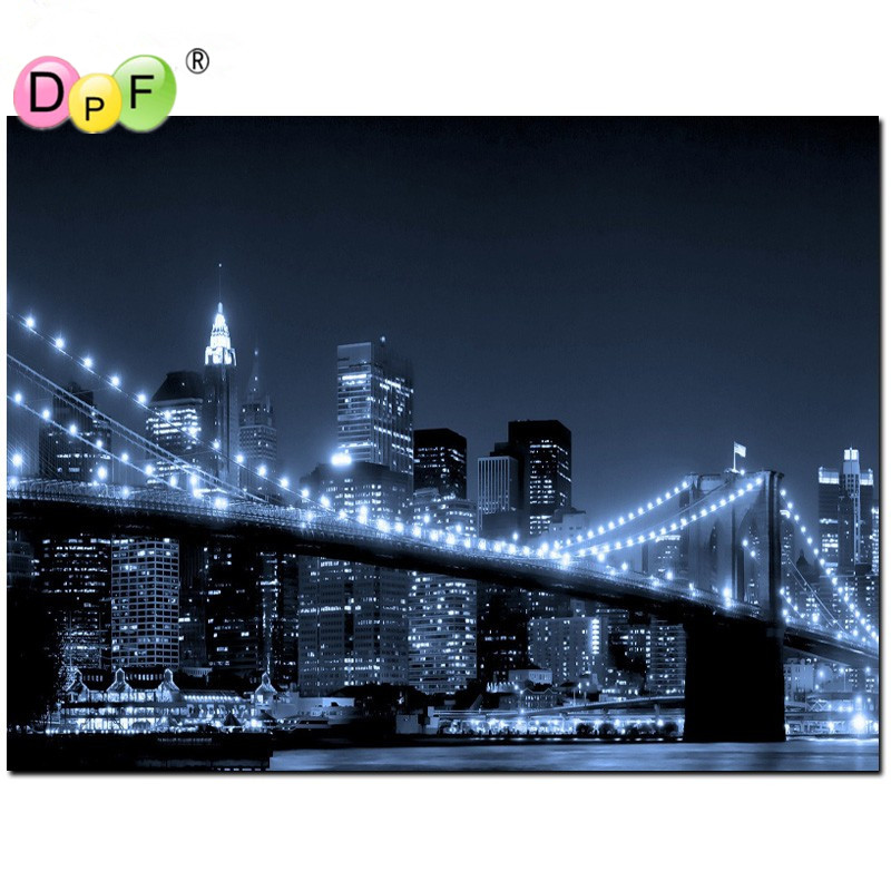 DPF Diamond painting cross stitch New 3D diy square full of the picture diamond embroidery Mosaic painting Night city home decor ...
