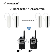 TP-Wireless UHF transmission HDCD audio Tour Guide Conference Wireless Translation System For 2Transmitter 10Receivers