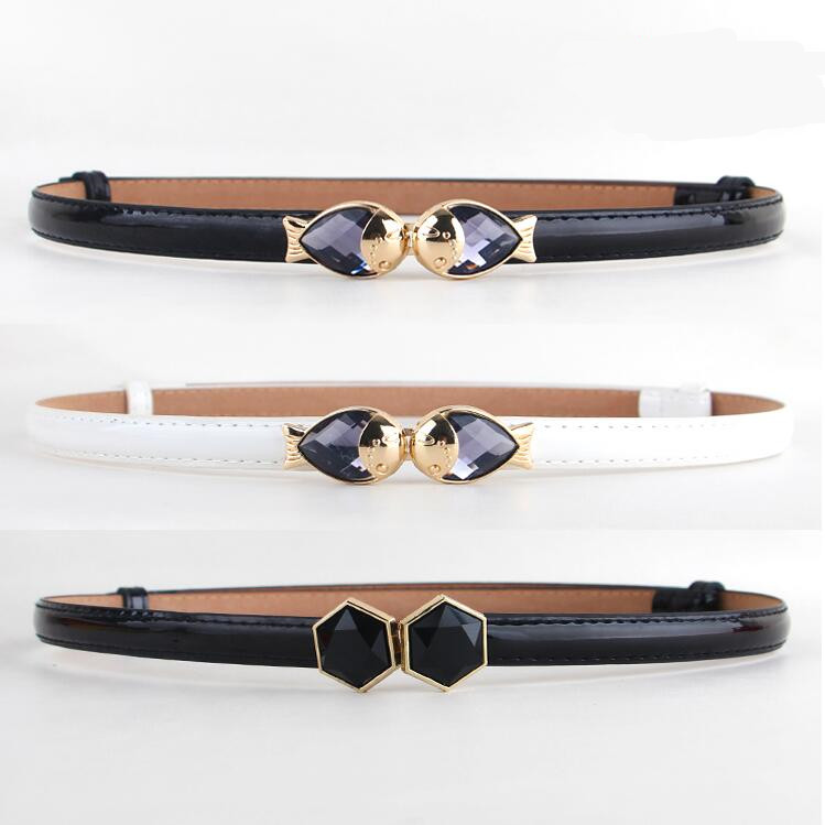 Fashion New Brand PU Leather Woman Thin Belt Metal Gold Buckle Crystal Fish Trendy Belts For Women Color Black White Red Adjust
