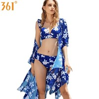 361 Women Bikini Push Up Swimwear with Cover Up 3 Pieces Bikinis Set Floral Print Ruffle Bathing Suits Underwire Swimming Suit