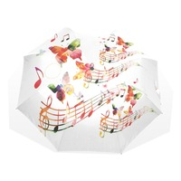 Watercolor Rainbow Butterfly Music Pattern Umbrella Sunny and Rainy Sunscreen Anti uv Umbrella Portable Foldable Umbrellas
